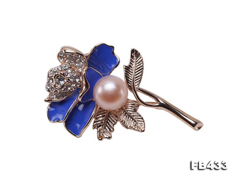 11mm Natural Freshwater Pearl Flower-shaped Gold Plated  Brooch big Image 1