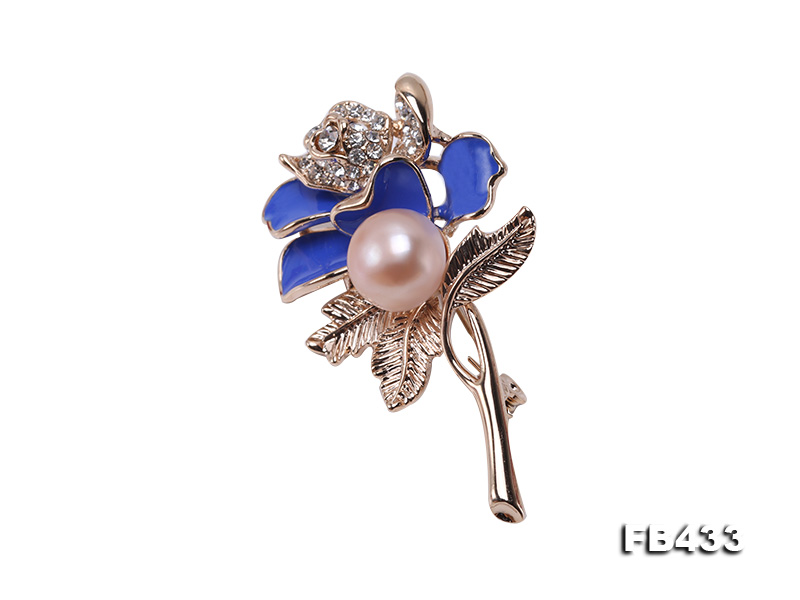 11mm Natural Freshwater Pearl Flower-shaped Gold Plated  Brooch big Image 3