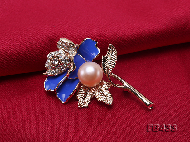 11mm Natural Freshwater Pearl Flower-shaped Gold Plated  Brooch big Image 5
