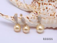 Classic Golden South Sea Pearl Pendant Earring Set in 14k Gold SSS006