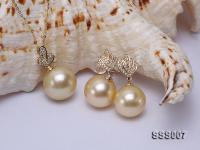 Classic Golden South Sea Pearl Pendant Earring Set in 14k Gold SSS007