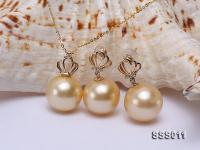 Classic 12mm Golden South Sea Pearl Pendant Earring Set in 14k Gold SSS011