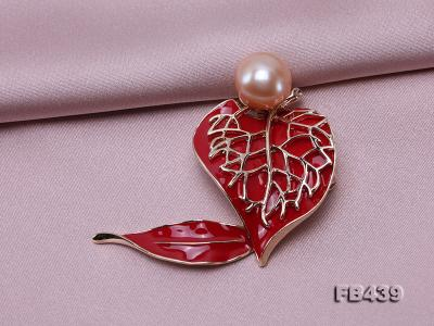 12-12.5mm Pearl Brooch Red Leaf Style  FB439 Image 4