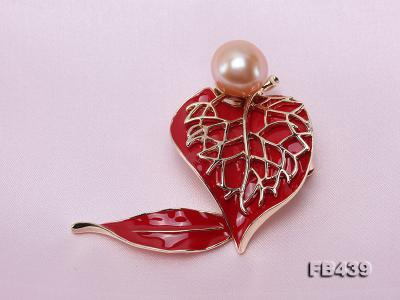 12-12.5mm Pearl Brooch Red Leaf Style  FB439 Image 5