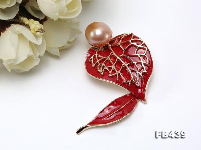 12-12.5mm Pearl Brooch Red Leaf Style  FB439 Image 7