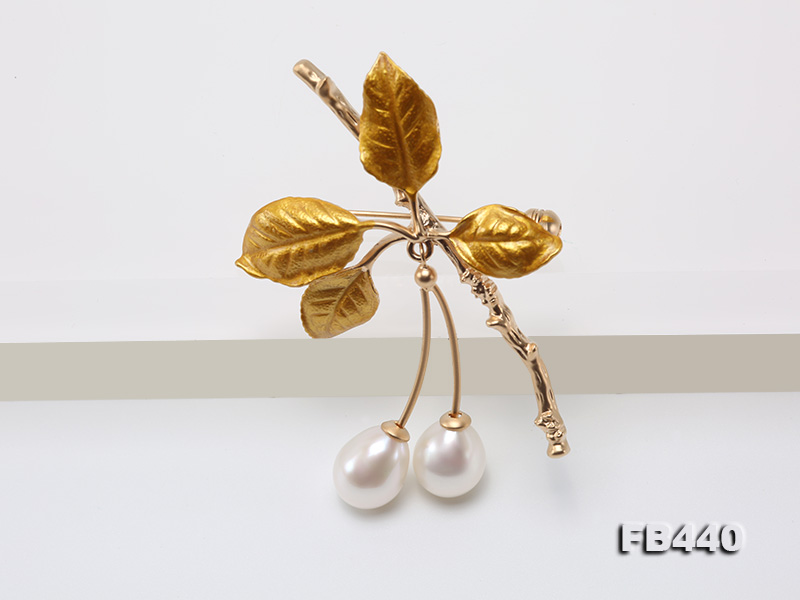 9.5-12.5mm Drop Shape Pearl Golden Leaves Brooch  big Image 3
