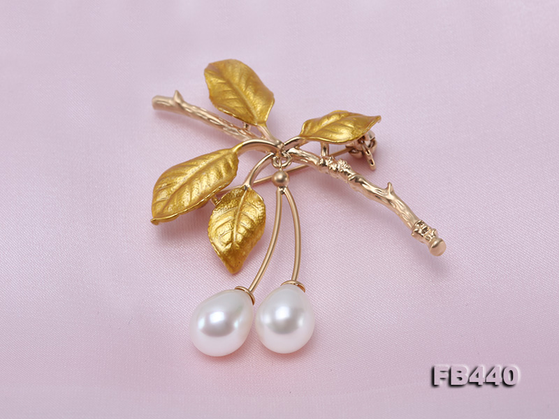 9.5-12.5mm Drop Shape Pearl Golden Leaves Brooch  big Image 4