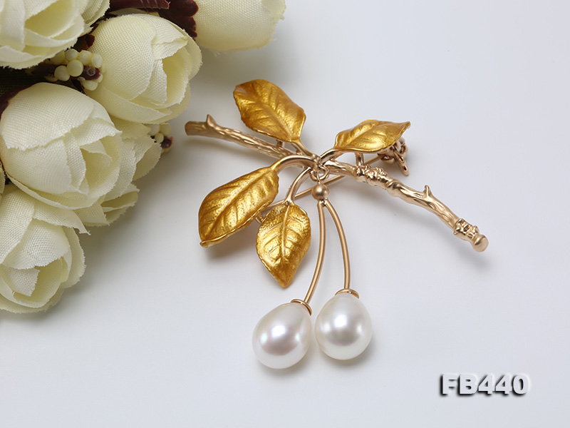 9.5-12.5mm Drop Shape Pearl Golden Leaves Brooch  big Image 5