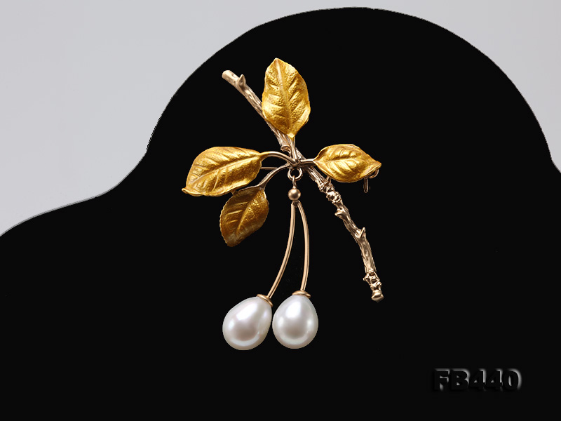 9.5-12.5mm Drop Shape Pearl Golden Leaves Brooch  big Image 6