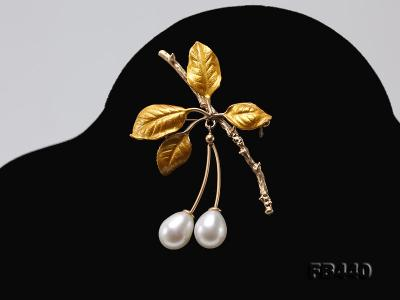 9.5-12.5mm Drop Shape Pearl Golden Leaves Brooch  FB440 Image 6