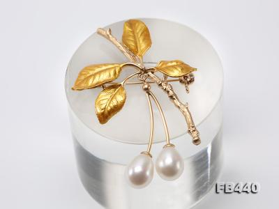 9.5-12.5mm Drop Shape Pearl Golden Leaves Brooch  FB440 Image 7
