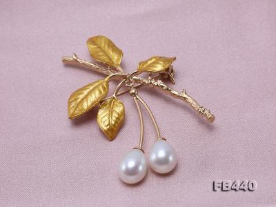 9.5-12.5mm Drop Shape Pearl Golden Leaves Brooch  FB440 Image 8
