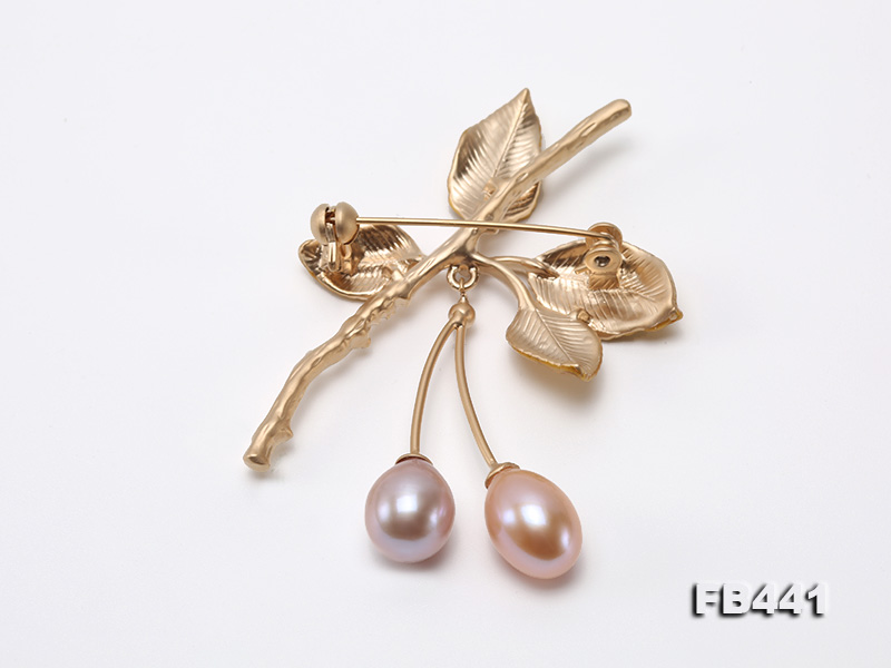 9.5-12.5mm Drop Shape Pearl Golden Leaves Brooch  big Image 2