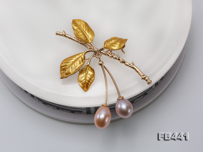 9.5-12.5mm Drop Shape Pearl Golden Leaves Brooch  big Image 7