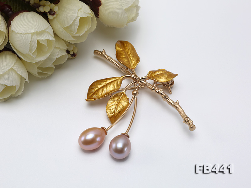 9.5-12.5mm Drop Shape Pearl Golden Leaves Brooch  big Image 8