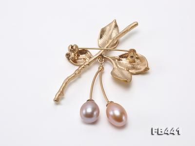 9.5-12.5mm Drop Shape Pearl Golden Leaves Brooch  FB441 Image 2