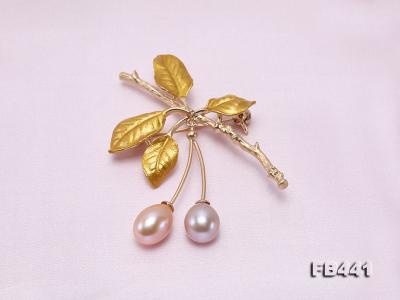 9.5-12.5mm Drop Shape Pearl Golden Leaves Brooch  FB441 Image 4