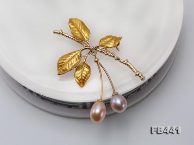 9.5-12.5mm Drop Shape Pearl Golden Leaves Brooch  FB441 Image 7