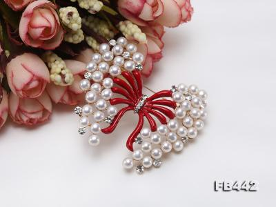 Beautiful Butterfly Pearl Brooch with Zircons FB442 Image 7