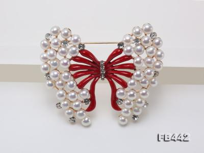 Beautiful Butterfly Pearl Brooch with Zircons FB442 Image 8