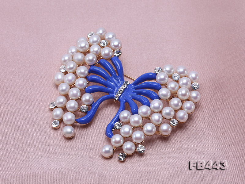 Beautiful Butterfly Pearl Brooch with Zircons big Image 7