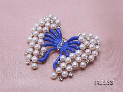 Beautiful Butterfly Pearl Brooch with Zircons FB443 Image 7