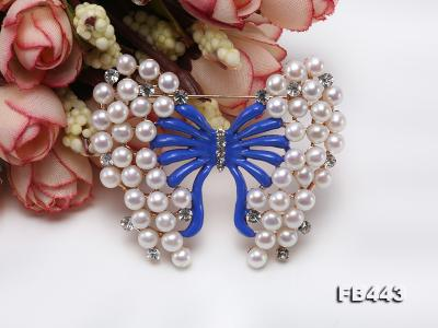 Beautiful Butterfly Pearl Brooch with Zircons FB443 Image 8