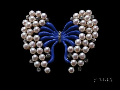 Beautiful Butterfly Pearl Brooch with Zircons FB443 Image 9