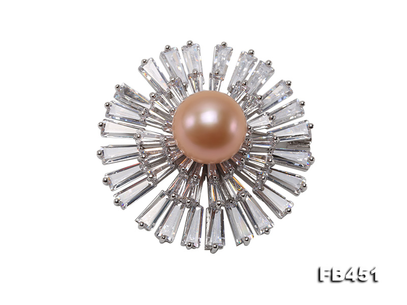 Lustrous 12mm Pink Round Edison Pearl Brooch/Pendant big Image 1