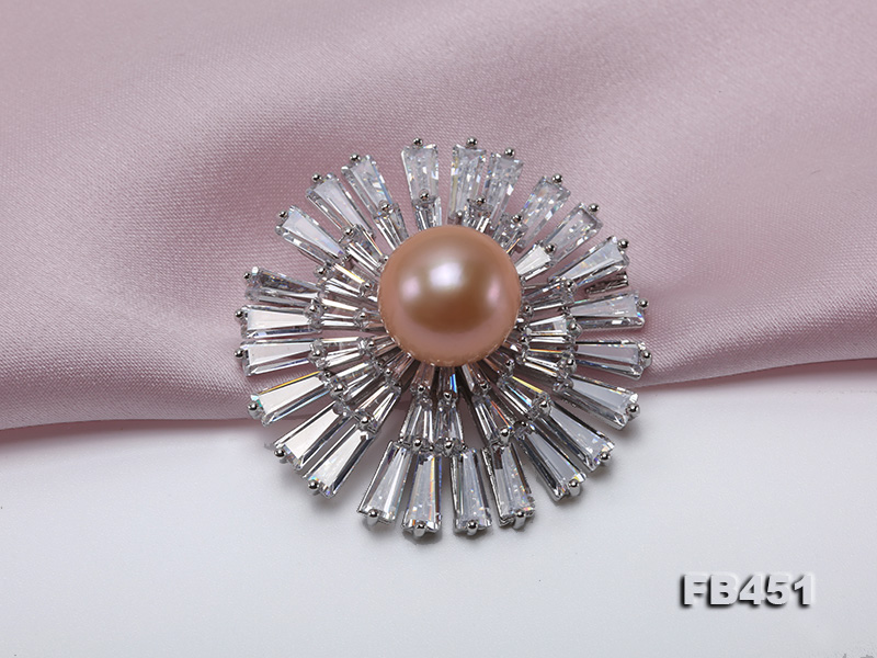 Lustrous 12mm Pink Round Edison Pearl Brooch/Pendant big Image 3