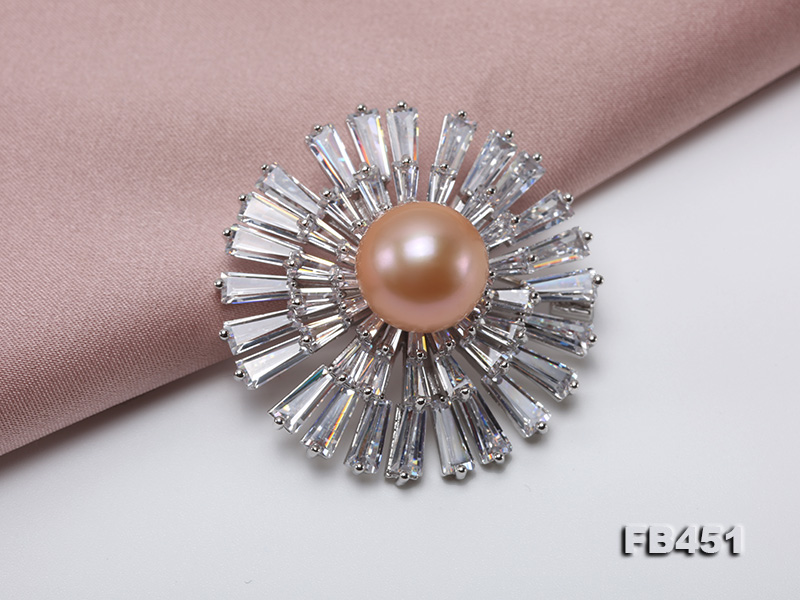 Lustrous 12mm Pink Round Edison Pearl Brooch/Pendant big Image 4