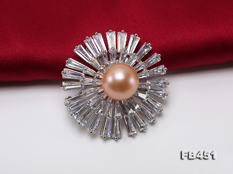 Lustrous 12mm Pink Round Edison Pearl Brooch/Pendant big Image 5