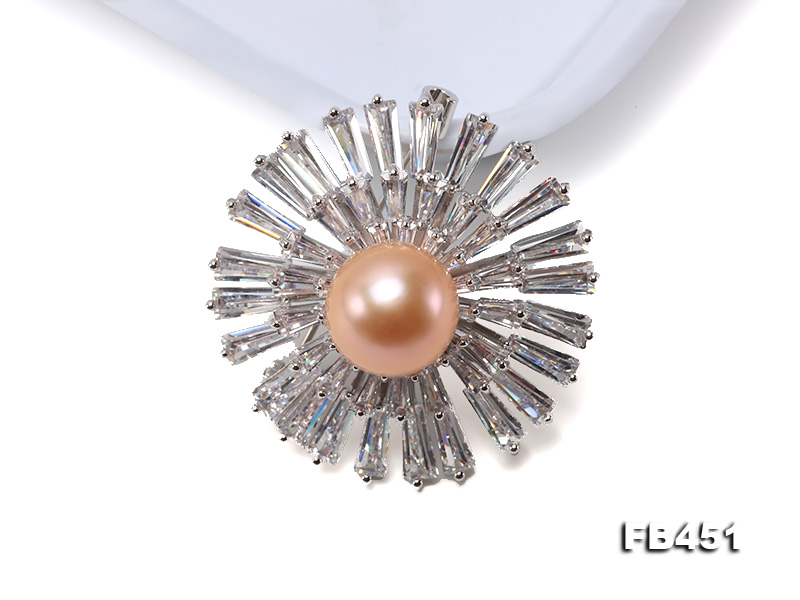 Lustrous 12mm Pink Round Edison Pearl Brooch/Pendant big Image 6
