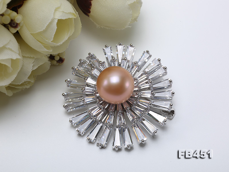 Lustrous 12mm Pink Round Edison Pearl Brooch/Pendant big Image 7