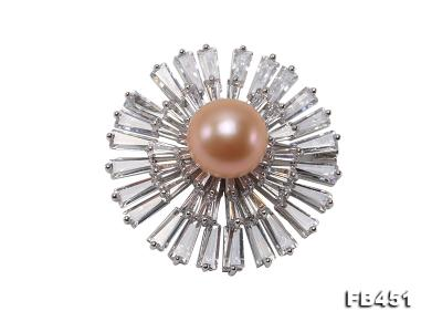 Lustrous 12mm Pink Round Edison Pearl Brooch/Pendant FB451 Image 1