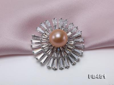 Lustrous 12mm Pink Round Edison Pearl Brooch/Pendant FB451 Image 3