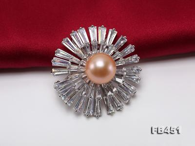 Lustrous 12mm Pink Round Edison Pearl Brooch/Pendant FB451 Image 5
