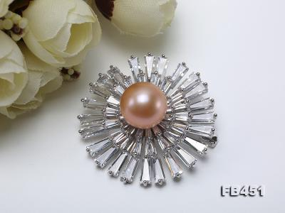 Lustrous 12mm Pink Round Edison Pearl Brooch/Pendant FB451 Image 7