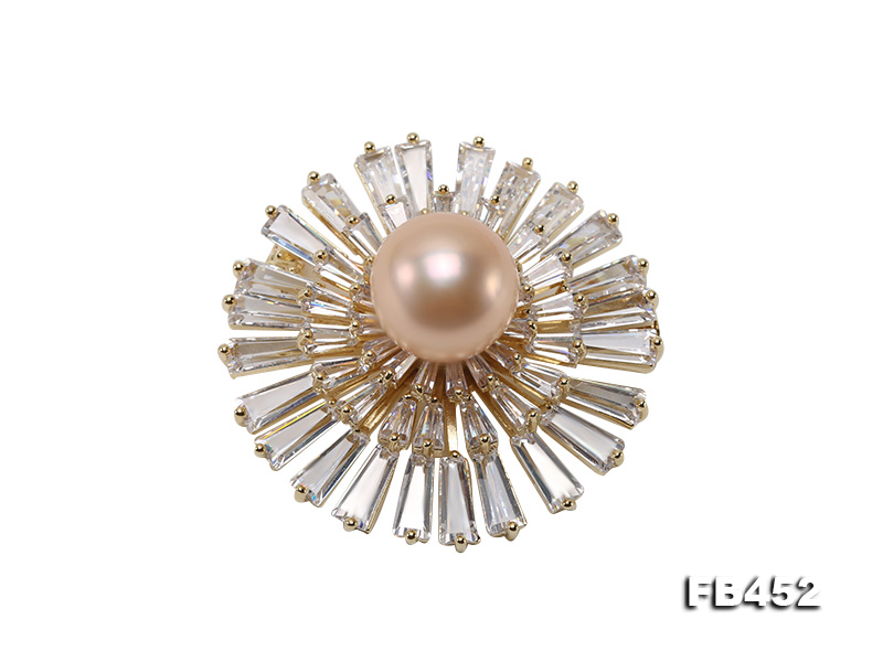 12mm Pink Round Edison Pearl Brooch/Pendant with Zircons big Image 1