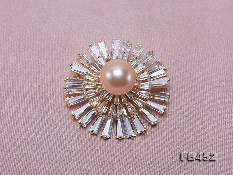 12mm Pink Round Edison Pearl Brooch/Pendant with Zircons big Image 6