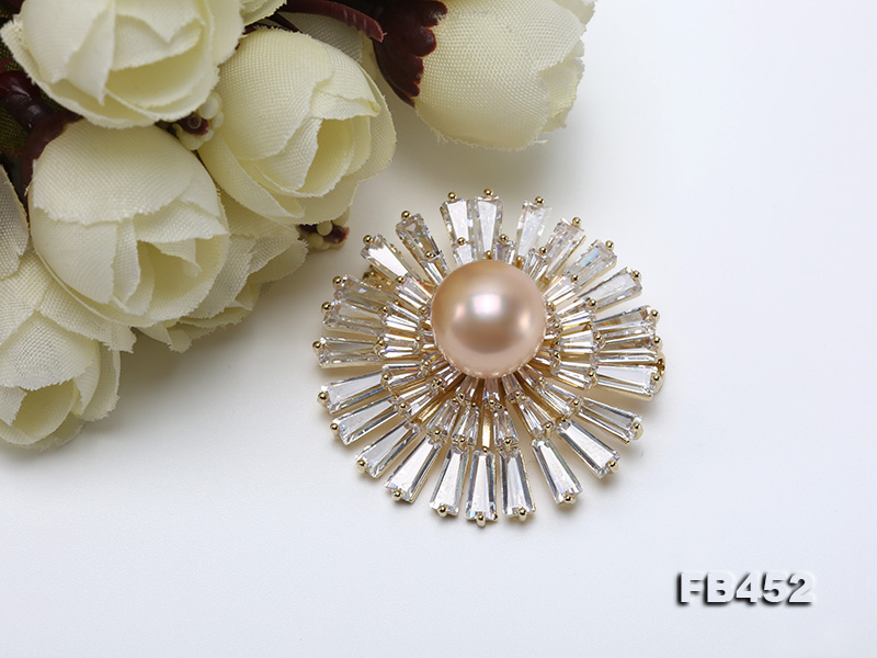 12mm Pink Round Edison Pearl Brooch/Pendant with Zircons big Image 7
