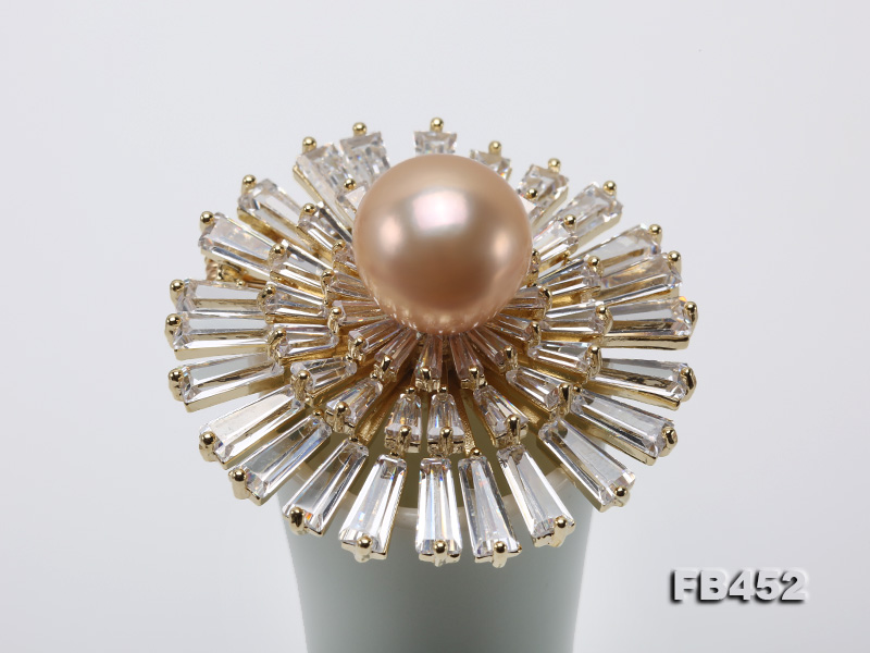 12mm Pink Round Edison Pearl Brooch/Pendant with Zircons big Image 8