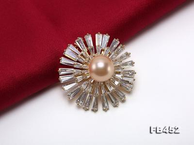 12mm Pink Round Edison Pearl Brooch/Pendant with Zircons FB452 Image 4