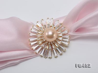 12mm Pink Round Edison Pearl Brooch/Pendant with Zircons FB452 Image 5