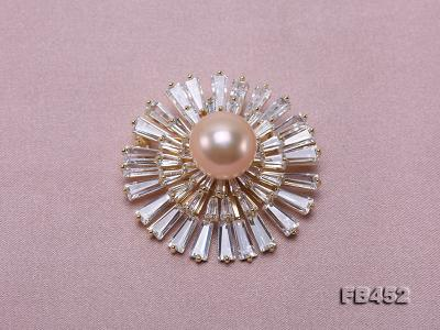 12mm Pink Round Edison Pearl Brooch/Pendant with Zircons FB452 Image 6