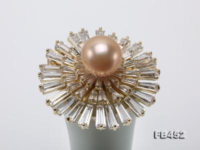 12mm Pink Round Edison Pearl Brooch/Pendant with Zircons FB452 Image 8