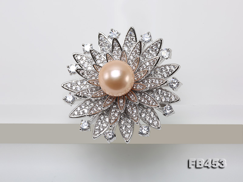 12mm Pink Round Edison Pearl Brooch/Pendant with Zircons big Image 3