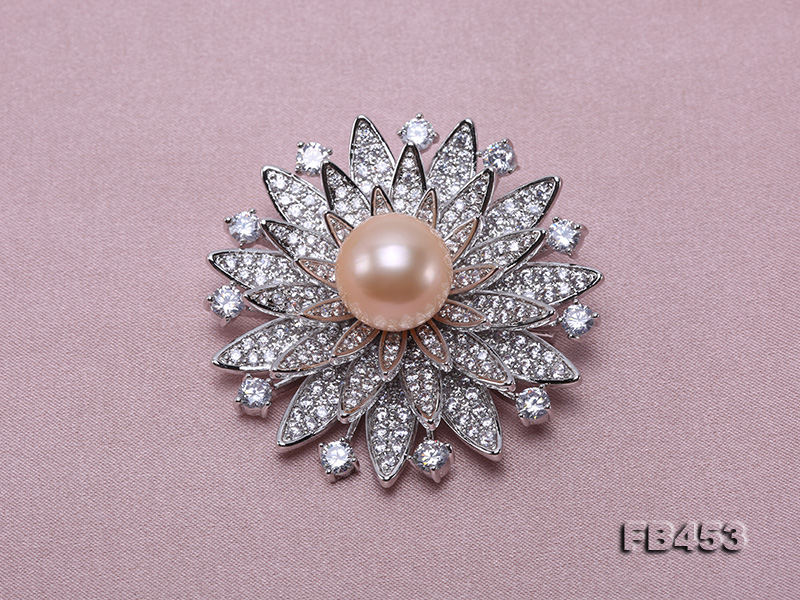 12mm Pink Round Edison Pearl Brooch/Pendant with Zircons big Image 4