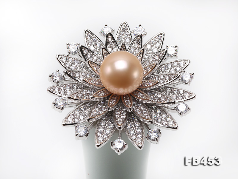 12mm Pink Round Edison Pearl Brooch/Pendant with Zircons big Image 9