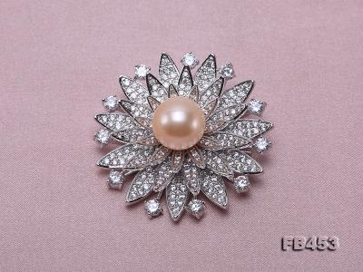 12mm Pink Round Edison Pearl Brooch/Pendant with Zircons FB453 Image 4